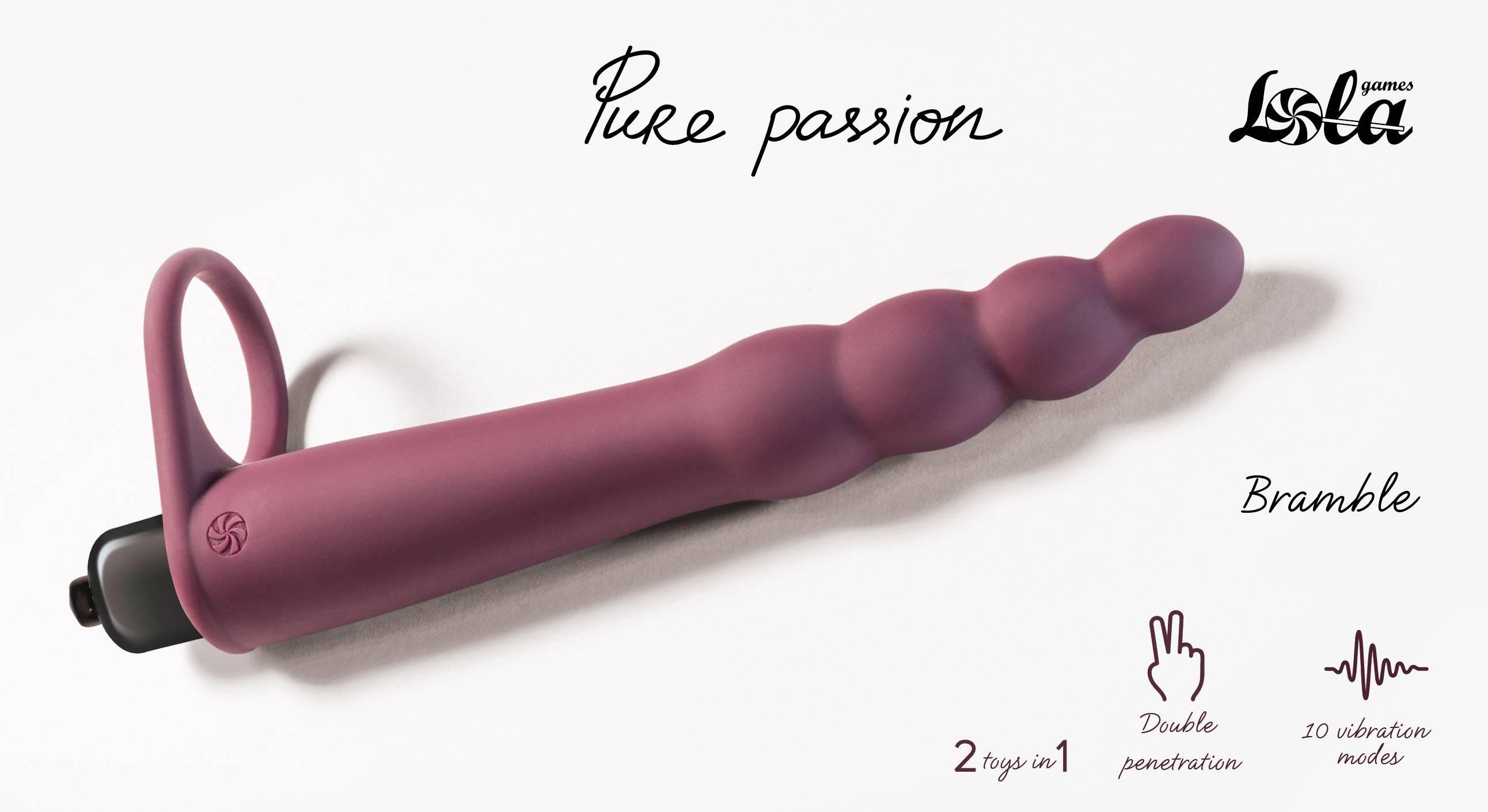 Вибронасадка для двойного проникновения Pure Passion Bramble Wine red 1201-02lola Бордовый Lola Games Pure Passion