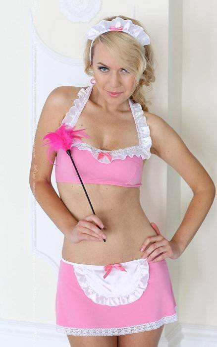 Mandy - Костюм горничной (3 предмета) розово-белый-M/L