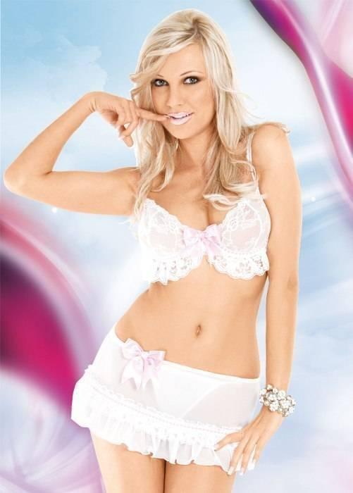 Flirt - Комплект из 3-х предметов бело-розовый-S