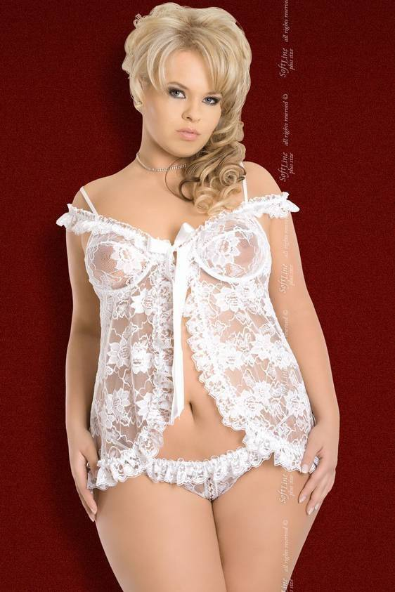 Erika - Ночная сорочка и стринги белые-XL
