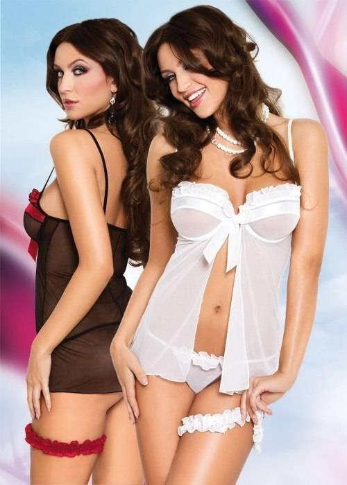 Nadine - Ночная сорочка, стринги и подвязка черно-красные-M