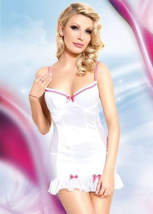 Lizzy - Ночная сорочка и стринги бело-розовые-L