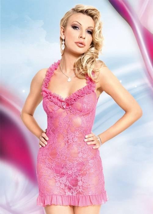 Mia - Ночная сорочка и стринги розовые-S/M