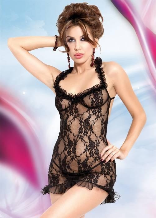 Mia - Ночная сорочка и стринги черные-S/M