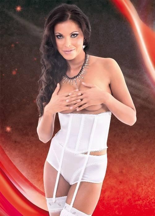 Lalia - Пояс-корсет c пажами, открытые шортики и подвязка белые-M/L