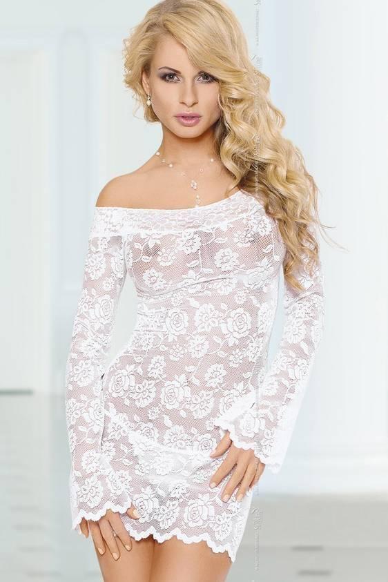 Lamia - Ночная сорочка с рукавами белая-S/M