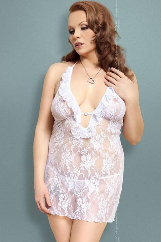 Carmen - Ночная сорочка и стринги белые-XXL