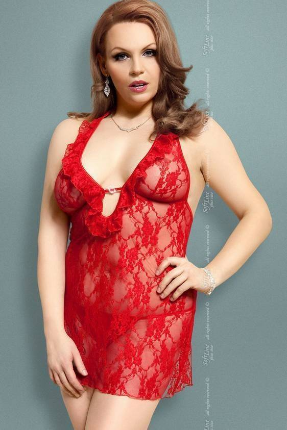 Carmen - Ночная сорочка и стринги красные-XXL