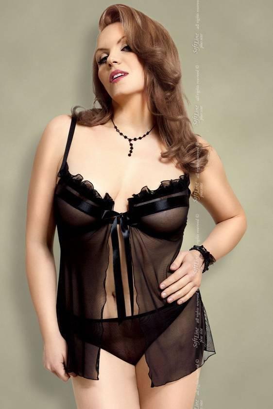 Nadine - Ночная сорочка и стринги черные-XL