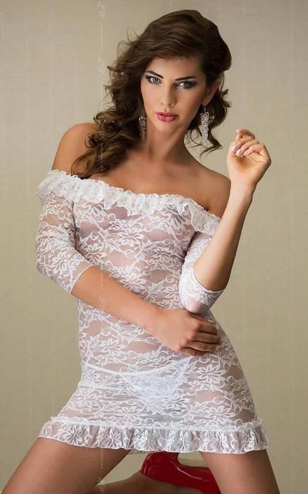 Agathe - Платье с открытыми плечами, рукавами 3/4 и стринги белые-S/M