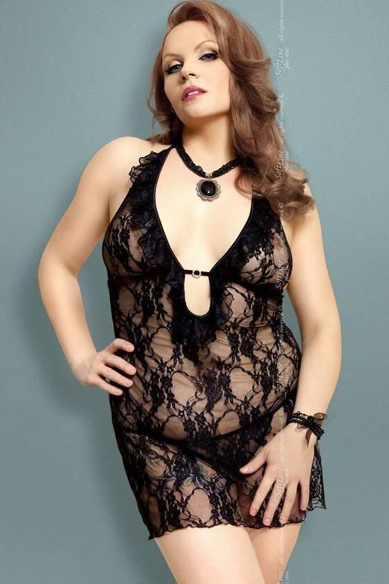 Carmen - Ночная сорочка и стринги черные-XXXL