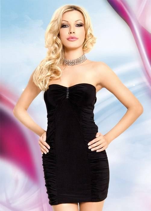 Celine - Мини-платье с открытыми плечами черное-S/M