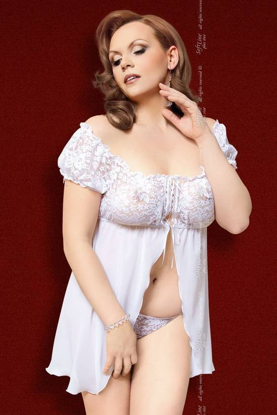 Josephine - Пеньюар и стринги белые-XL