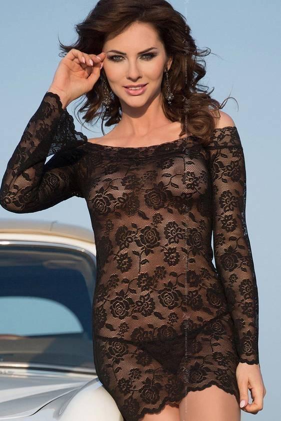 Lamia - Ночная сорочка с рукавами черная-M/L