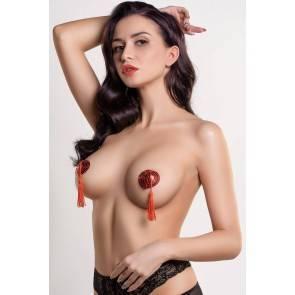 Пэстис Erolanta Lingerie Collection в форме сердец с кисточками однотонные красные