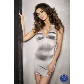 Серебристое платье с кружевными вставками и трусики HALLA L/XL13573PAS Passion