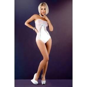 Боди с двойной шнуровкой спереди Me Seduce Aurelie, белое, S/M