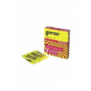 Презервативы Ganzo Extase, с точечно-ребристой поверхностью, анатомической формы, латекс, 18 см, 3 ш