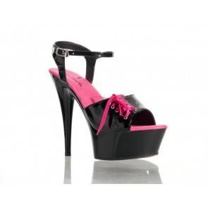 Туфли черно-розовые 38р.