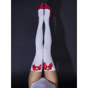 Чулки медсестры с бантиками 04835S/M Белый, Красный Le Frivole Costumes