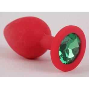 Пробка силиконовая красная с зеленым стразом 9,5х4см 47155-1-MM