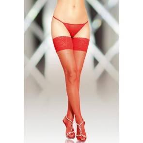 Чулки-сетка со шовом SoftLine Collection, красный, L