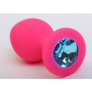 Пробка силиконовая розовая с голубым стразом 9,5х4см 47405-2MM