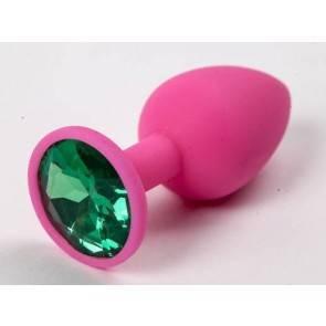Пробка силиконовая розовая с зеленым стразом 7,1 х 2,8 см 47113-MM
