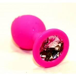 Пробка силиконовая розовая с розовым стразом 9,5х4см 47410-2MM