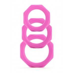 Набор эрекционных колец Octagon Rings 3 sizes розовый (3 шт.)