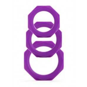 Набор эрекционных колец Octagon Rings 3 sizes фиолетовый (3 шт.)