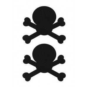 Украшение на соски Nipple Stickers в форме черепов черное