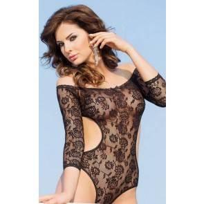 Боди с открытыми плечами и рукавами SoftLine Collection Rosa, черный, M/L