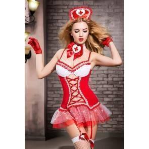 Костюм медсестры Candy Girl Gesabelle (платье, перчатки, стринги, чулки, чокер, головной убор, банты