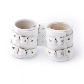 Наручники кожаные белые 3055-3