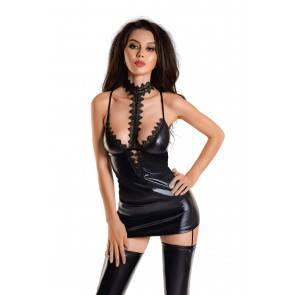 Платье с чокером Glossy Ivy из материала Wetlook, черное, S