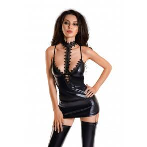 Платье с чокером Glossy Ivy из материала Wetlook, черное, M Черный Erolanta Glossy