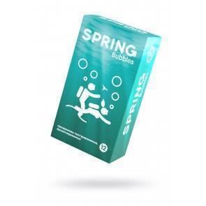 Презервативы Spring Bubbles, с точечной поверхностью, латекс, 19,5 см, 12 шт Прозрачный Spring