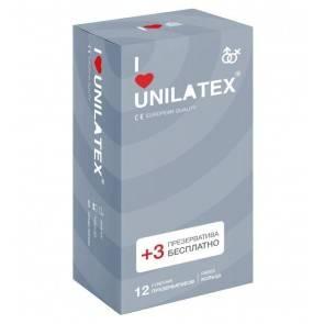Презервативы Unilatex Ribbed 12+3 шт в подарок 3021Un