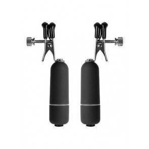 Клипсы на соски с вибрацией черные SH-OU039BLK