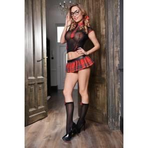 Эротический костюм школьницы Elawin (топ, юбка, галстук и гольфы), черно-красный, XL