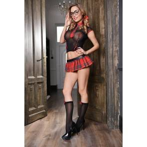 Эротический костюм школьницы Elawin (топ, юбка, галстук и гольфы), черно-красный, L