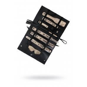 БДСМ набор Goddess (кляп, ошейник, поводок, пэдл, флоггер, наручники, оковы на ноги), золотисто-черн