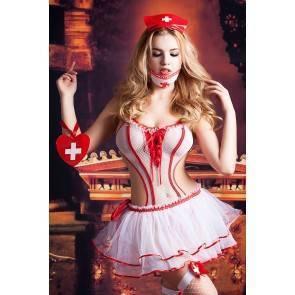Костюм медсестры Candy Girl Lola (боди, юбка, чулки, головной убор, маска, аксессуар), бело-красный,