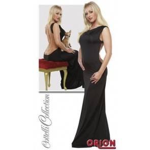 Платье с открытой спиной и цепочками черное-S